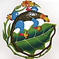 Recylced Steel Drum Colorful Iguana on a Leaf Wall Art (Haiti)