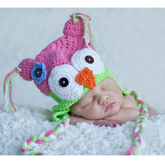 Handmade Girl's Pink Lime Owl Hat