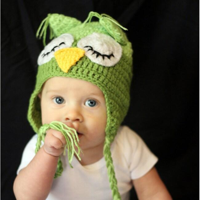 Handmade Boy's 2-Tone Green Owl Hat