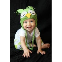 Handmade Boy's 2-Tone Green Owl Hat