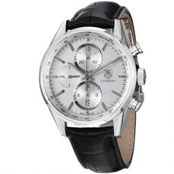 Tag Heuer Men's CAR2111.FC6266 'Carrera' Silver Dial Leather Strap Chronograph Watch