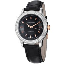 Revue Thommen Men's 12200.2557 'Classic' Black Leather Strap Automatic Watch with Goldtone Markers