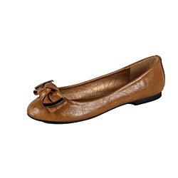 Modesta by Beston Women's 'Jaime-02' Tan Bow Flats