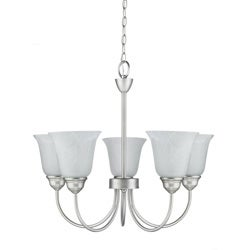 Transitional 5 light Satin Nickel Chandelier
