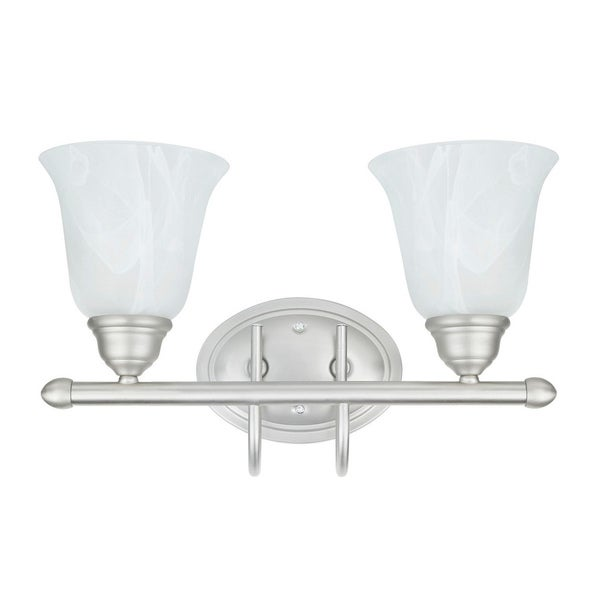 Transitional 2-light Bath Vanity in Satin Nickel