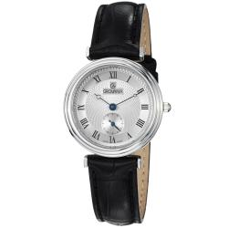 Grovana Women's 3276.1538 Silver Dial Black Leather Strap Watch