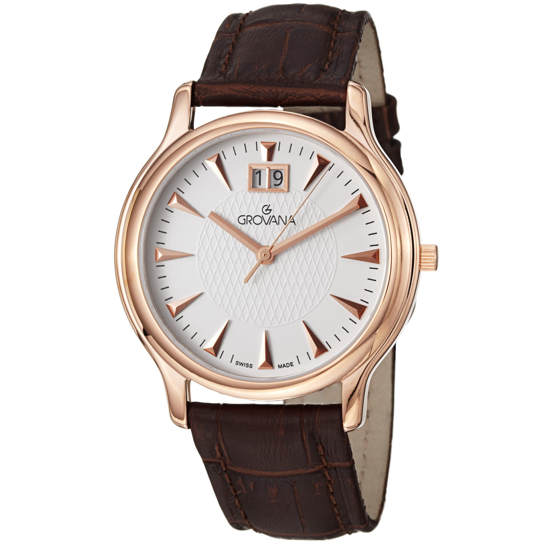 Grovana Men's Ivory Dial Brown Leather Strap Grand Date Quartz Watch