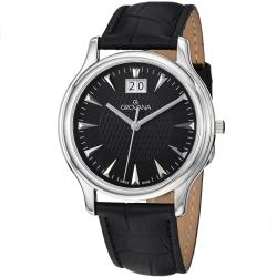 Grovana Men's Black Dial Black Leather Strap Grand Date Quartz Watch