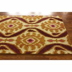 nuLOOM Handmade Ikat Natural Wool Rug (7'6 x 9'6)
