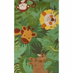 nuLOOM Handmade Kids Safari Animals Green Wool Rug (3'6 x 5'6)