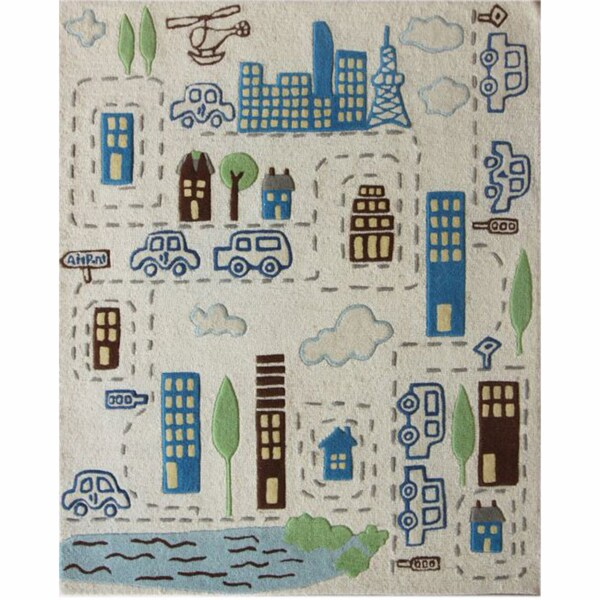 nuLOOM Handmade Kids City Ivory Wool Rug (5'3 x 6'3)