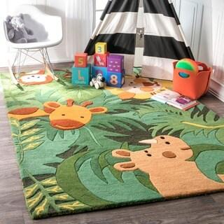 nuLOOM Green Handmade Kids Safari Animals Wool Area Rug