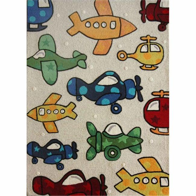 nuLOOM Handmade Kids Airplanes Multi Wool Rug (3'6 x 5'6)