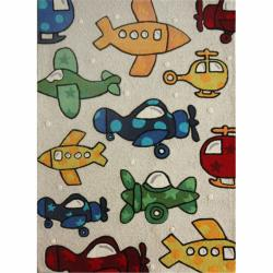 nuLOOM Handmade Kids Airplanes Multi Wool Rug (3'6 x 5'6)