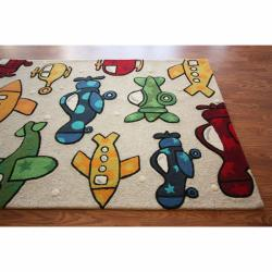 nuLOOM Handmade Kids Airplanes Multi Wool Rug (5' x 7')