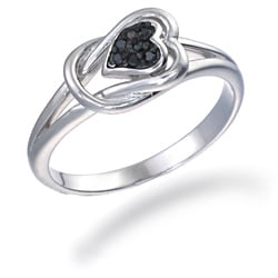 Sterling Silver Black Diamond Accent Heart-shaped Ring