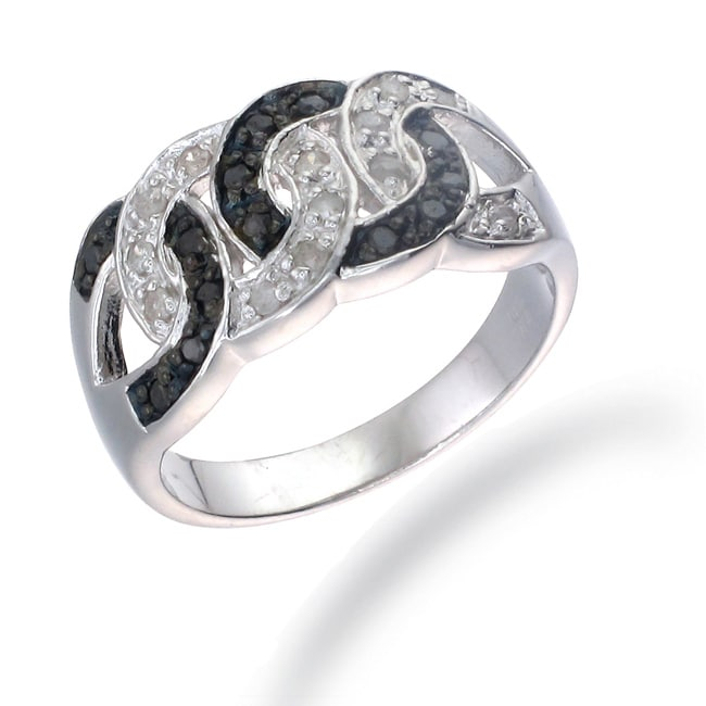 Sterling Silver 1/3ct TDW Black and White Diamond Circle Ring (I-J, I2-I3)