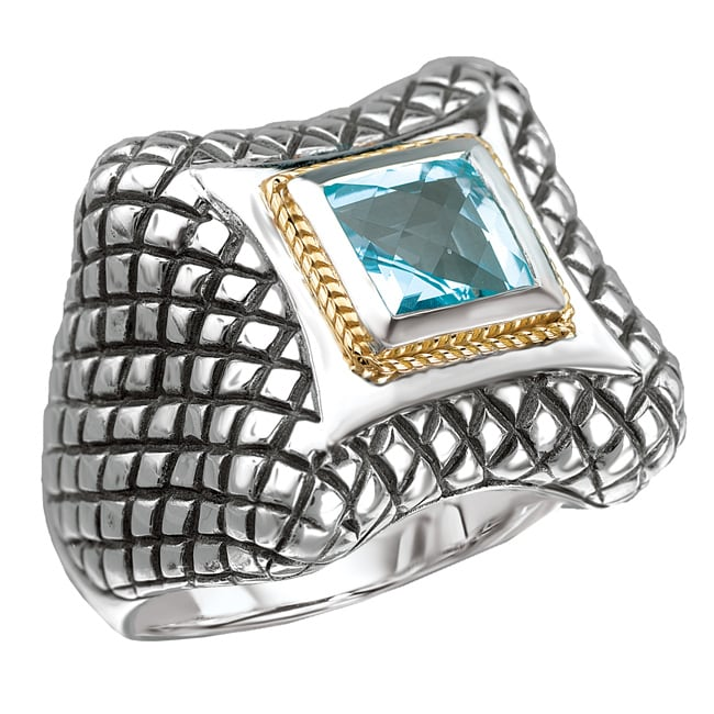 Sterling Silver and 18k Gold Blue Topaz Ring