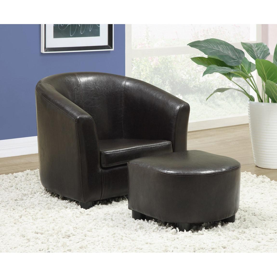 Kids Dark Brown Leather Look Chair Ottoman 2 Piece Set