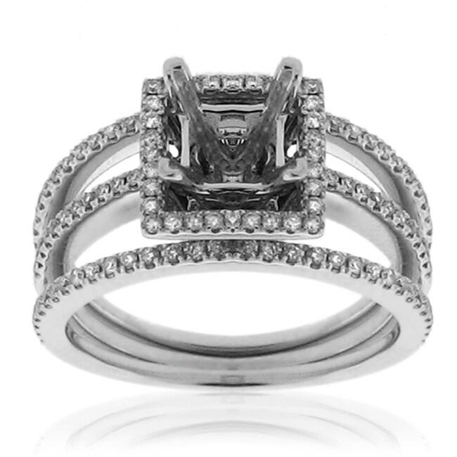 14k White Gold 1/3ct TDW Semi-Mount Diamond Ring