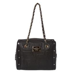Versace Stitched Black Leather Shoulder Bag