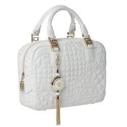 Versace 'Vantias' Quilted White Leather Satchel Bag