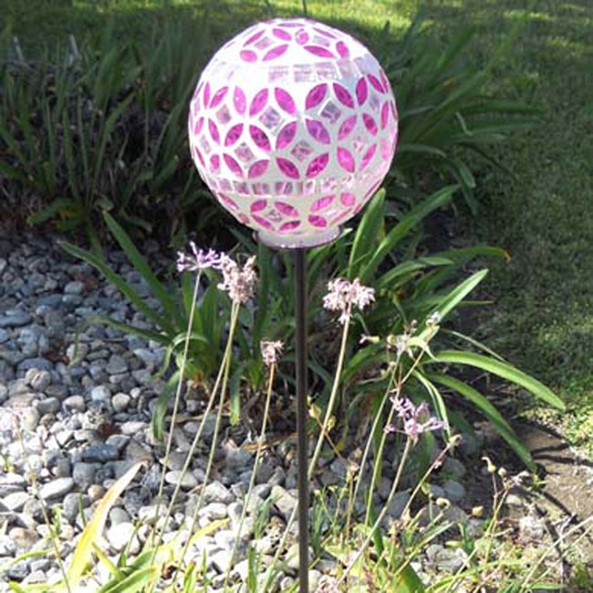 Solar Power Mosaic Glass Ball Color Changing Light (Set of 2)