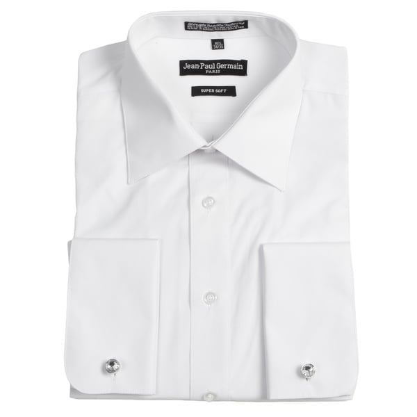 Jean paul germain men 39 s white french cuff dress shirt for Mens dress shirts french cuffs
