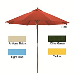 Lauren & Company Round Wood Market Umbrella (9')