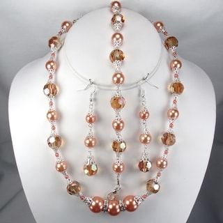 Silverplated Tangerine Glass Pearl and Firey Orange Crystal Jewelry Set