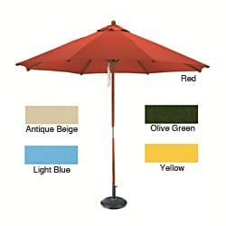 Round Wood Market Umbrella with Stand (9')