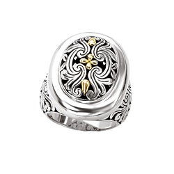 Sterling Silver and 18k Gold Oval Filigree Ring