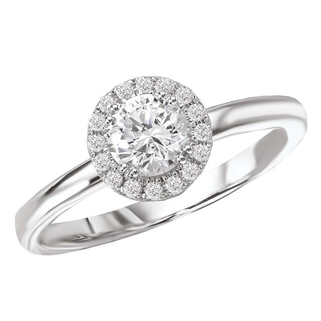 Avanti 14k White Gold 1/2ct TDW Halo Diamond Engagement Ring (G/H, SI1-SI2)