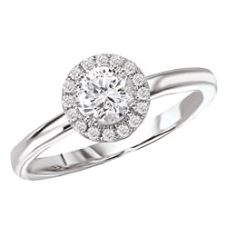 14k White Gold 1/2ct TDW Halo Diamond Engagement Ring (G/H, SI1-SI2)