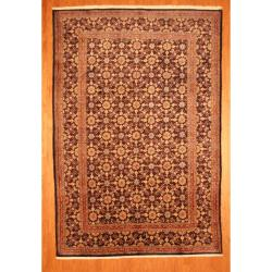 Persian Hand-knotted Moud Blue/ Gold Wool Rug (6'9 x 9'10)