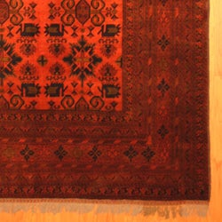 Afghan Hand-knotted Tribal Khal Mohammadi Rust/ Black Wool Rug (6'7 x 9'7)
