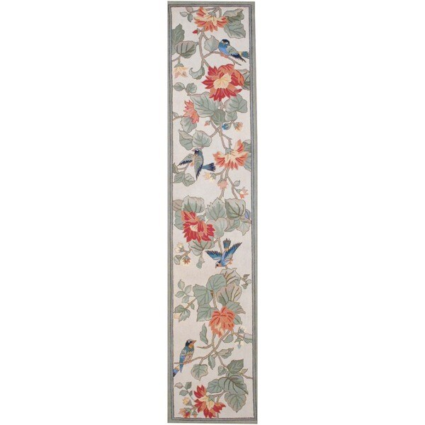 Herat Oriental Chinese Asian Hand-tufted Multicolor Floral Bird Wool Rug (2'8 x 12')