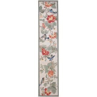 Chinese Asian Hand-tufted Multi-color Floral Bird Wool Rug (2'8 x 12')
