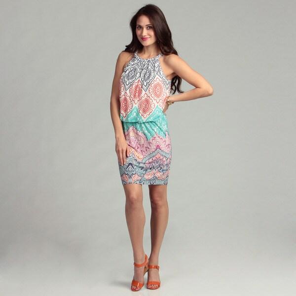London Times Matte Jersey Geometric Print Dress