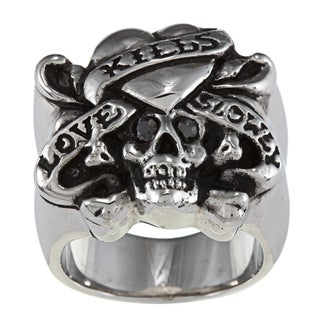 Ed Hardy Stainless Steel 'Love Kills Slowly' Cubic Zirconia Ring