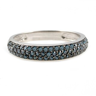 Beverly Hills Charm Silver 1/2ct TDW Blue Diamond Band Ring (Blue, I1)