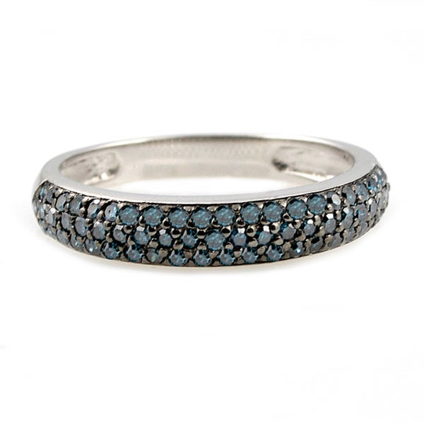 Beverly Hills Charm Silver 1/2ct TDW Blue Diamond Band Ring (Blue, I1)
