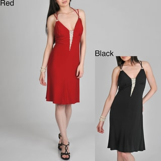 Janine of London Women's Rhinestone V-neck Cocktail Dress