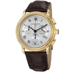 Frederique Constant Men's 'Persuasion' Silver Dial Brown Strap Watch