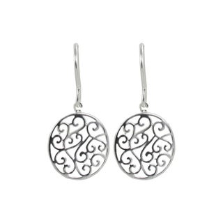 Sunstone Sterling Silver Round Filigree Disc Dangle Earrings