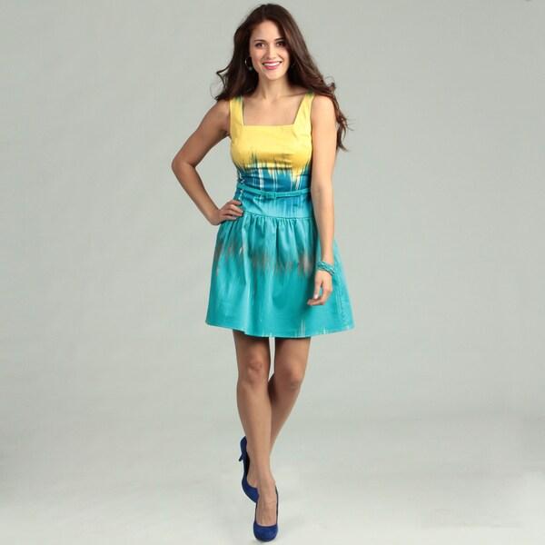 London Times Cotton Abstract Print Dress
