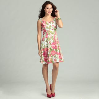 London Times Cotton Floral Print Dress