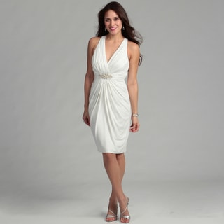 London Times Matte Soft White Jersey Dress