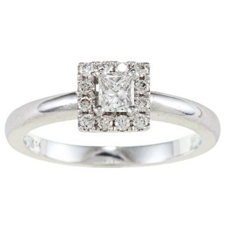 14k White Gold 3/8ct TDW Certified Diamond Engagement Ring (F-G, SI1)