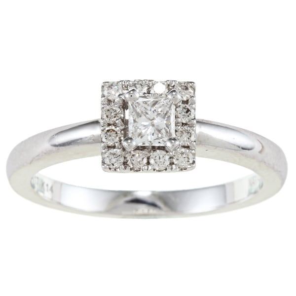 14k White Gold 3/8ct TDW Certified Diamond Engagement Ring (F-G, SI1)